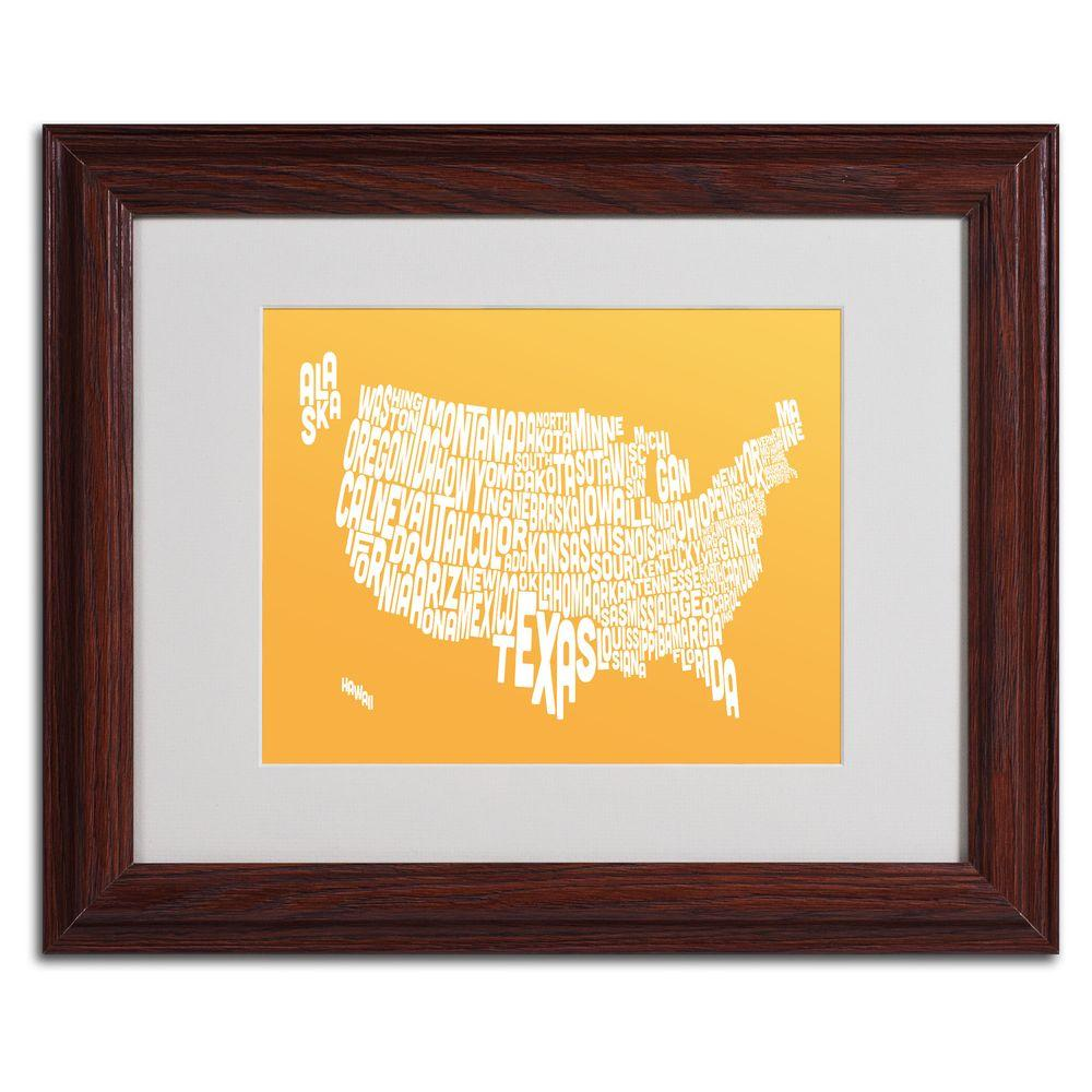 Trademark Fine Art 11 in. x 14 in. USA States Text Map - Sunset Matted Framed Art