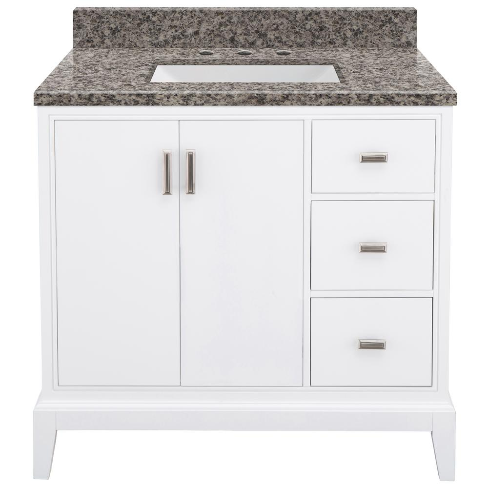 Home Decorators Collection Shaelyn 37 in. W x 22 in. D Bath Vanity in White Right Hand Drawers with Granite Vanity Top in Sircolo with White Sink was $999.0 now $699.3 (30.0% off)