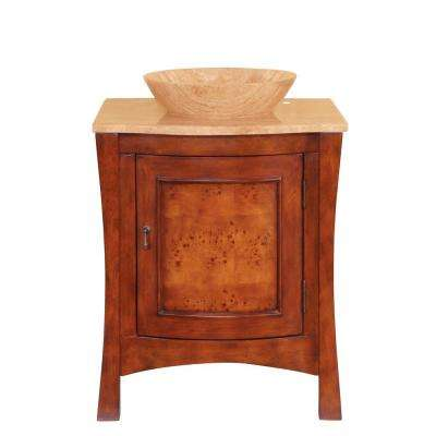 26 in. W x 22 in. D Vanity in Red Chestnut with Stone Vanity Top in Travertine with Vessel Stone Basin