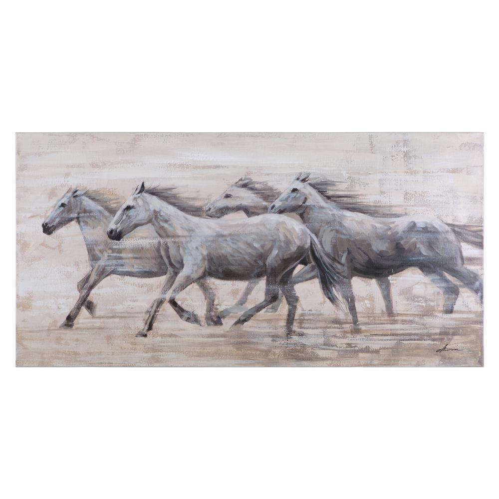 Horses in the Wind Artwork in 28 in. H x 55 in. W