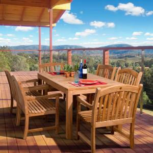 Amazonia oslo 7 piece teak patio dining set sc oslo the home depot Home depot teak patio furniture