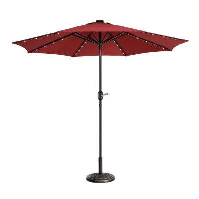 9 ft. Steel Market Solar Tilt LED Lighted Patio Umbrella in Red