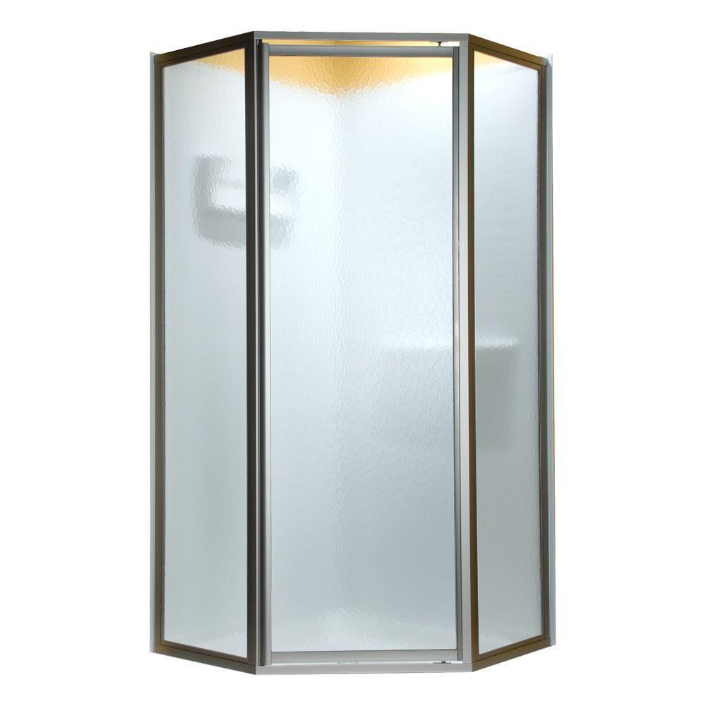 Prestige 59 in. x 68-1/2 in. Neo-Angle Framed Shower Door in Silver