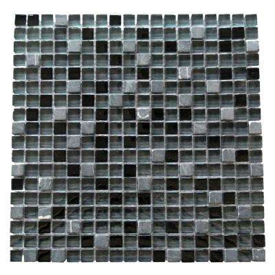 Quartz Black Fossil 11.7 in. x 11.7 in. x 7.94 mm Glass and Stone Mosaic Tile