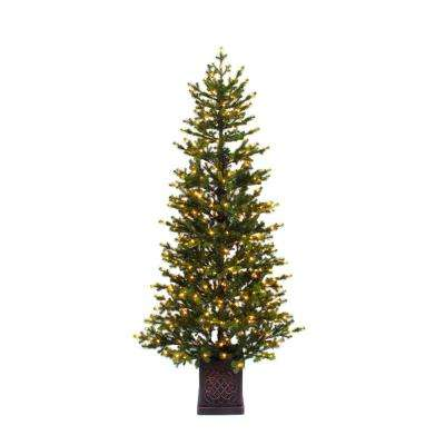 6.5 ft. Pre-Lit LED Potted Artificial Christmas Tree with 400 Warm White Micro Dot Lights