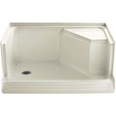 Memoirs 48 in. x 36 in. Single Threshold Shower Base with Integral Seat on Right in Biscuit