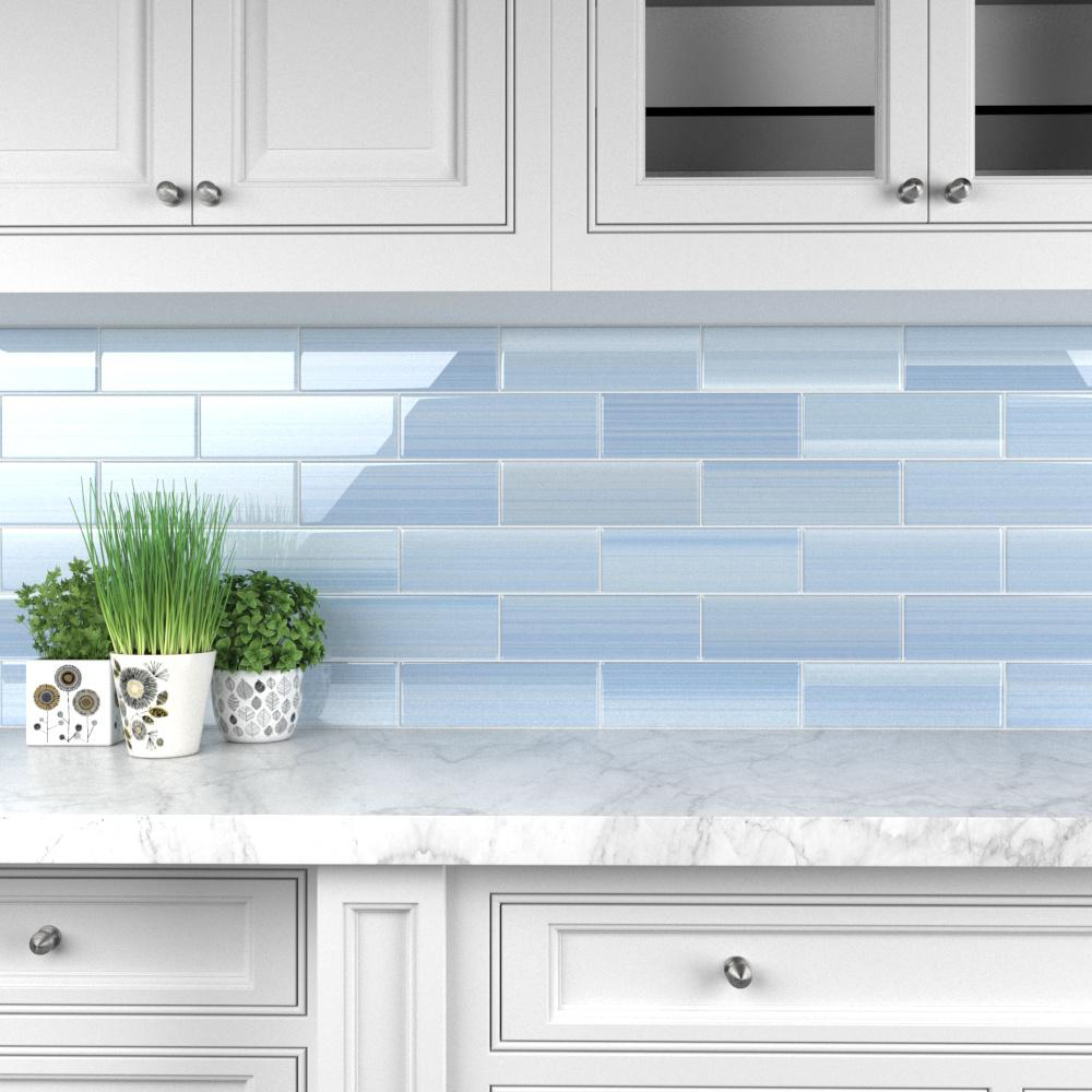 - Bodesi Big Blue 4 In. X 12 In. Glass Tile For Kitchen Backsplash