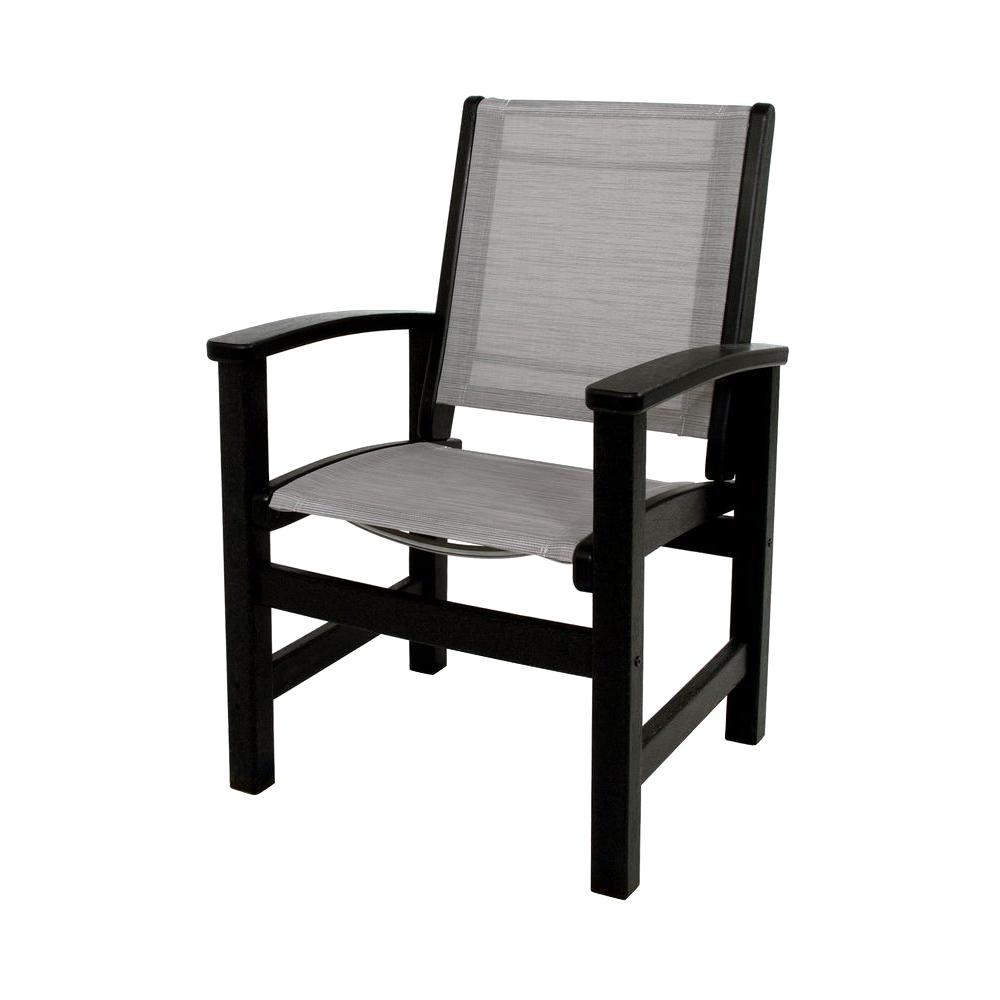 Wondrous Polywood Black Metallic Sling Coastal Patio Dining Chair Dailytribune Chair Design For Home Dailytribuneorg