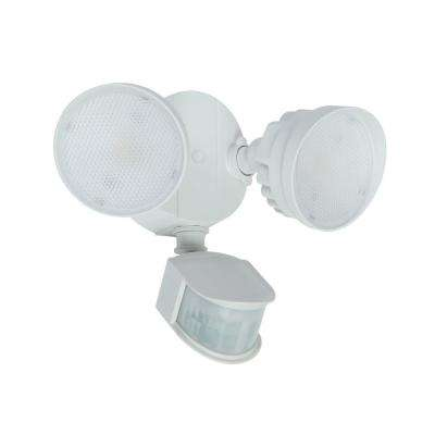 270-Degree 2-Head White Outdoor Integrated LED Motion Activated Flood Light