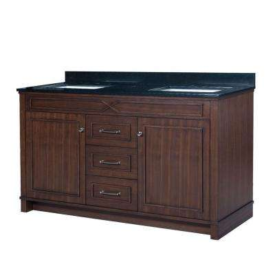 Bombay 60.5 in. W x 22 in. D Vanity in American Walnut with Granite Vanity Top in Black with White Basin