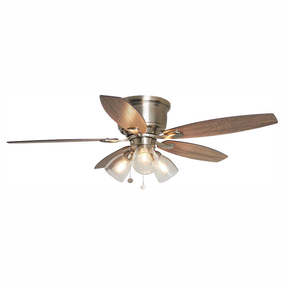 Stoneridge 52 in. LED Indoor Brushed Nickel Hugger Ceiling Fan with Light Kit