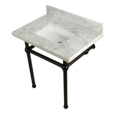 Square-Sink Washstand 30 in. Console Table in Carrara with Metal Legs in Oil Rubbed Bronze
