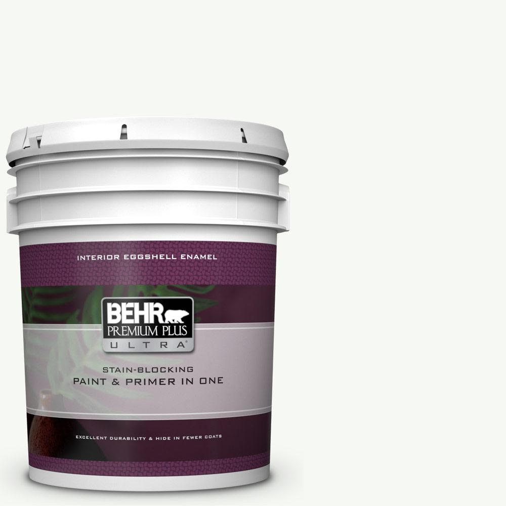 Behr Premium Plus Ultra 5 Gal Ppu18 06 Pure White Eggshell Enamel