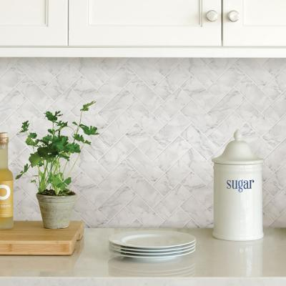 White Herringbone Carrara Peel Stick Backsplash Tiles