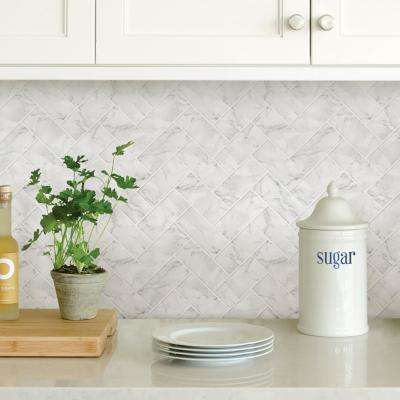 White Herringbone Carrara Peel Stick Backsplash Tiles