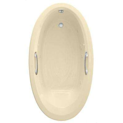 Ellisse Oval EcoSilent 70 in. x 39 in. Whirlpool and Air Bath Tub in Bone