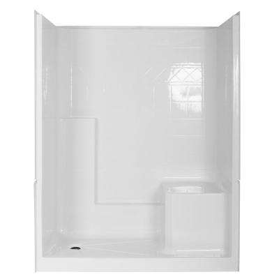 Elizabeth 60 in. x 33 in. x 77 in. 3-Piece Low Threshold Shower Stall in White with Right Seat and Left Drain