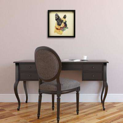 """17 in. x 17 in. """"Boston Terrier Closeup """" Dimensional Collage Framed Graphic Art Under Glass Wall Art"""