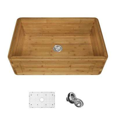 Farmhouse/Apron-Front Bamboo 30 in. Single Bowl Kitchen Sink