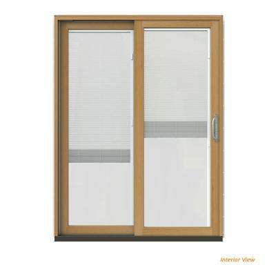60 in. x 80 in. W-2500 Contemporary Red Clad Wood Left-Hand Full Lite Sliding Patio Door w/Stained Interior