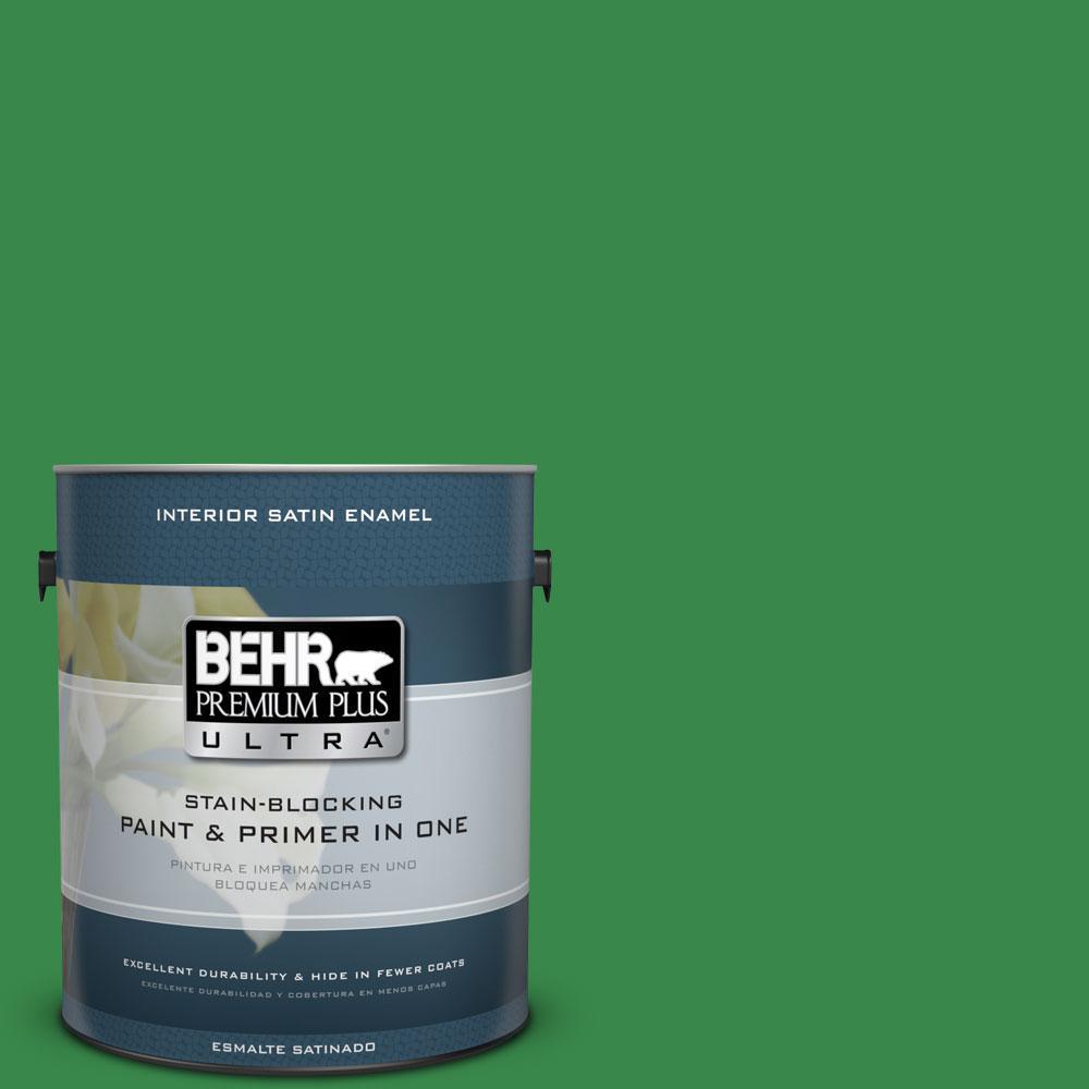 BEHR Premium Plus Ultra 1-gal. #P400-7 Paradise of Greenery Satin Enamel Interior Paint