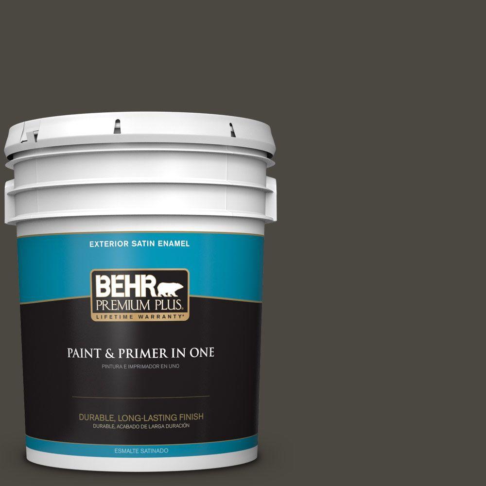 5 gal. #HDC-CL-14A Warm Onyx Satin Enamel Exterior Paint