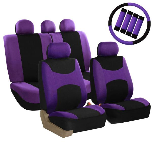FH Group Light and Breezy Fabric 21 in. x 21 in. x 2 in. Full Set Seat Covers with Steering Wheel Cover and 4-Seat Belt Pads