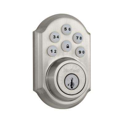SmartCode 909 Single Cylinder Satin Nickel Electronic Deadbolt featuring SmartKey