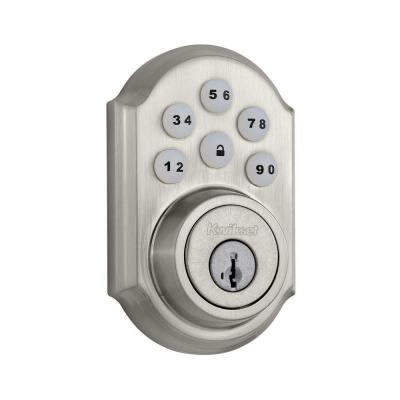 SmartCode 909 Satin Nickel Single Cylinder Electronic Deadbolt Featuring SmartKey Security