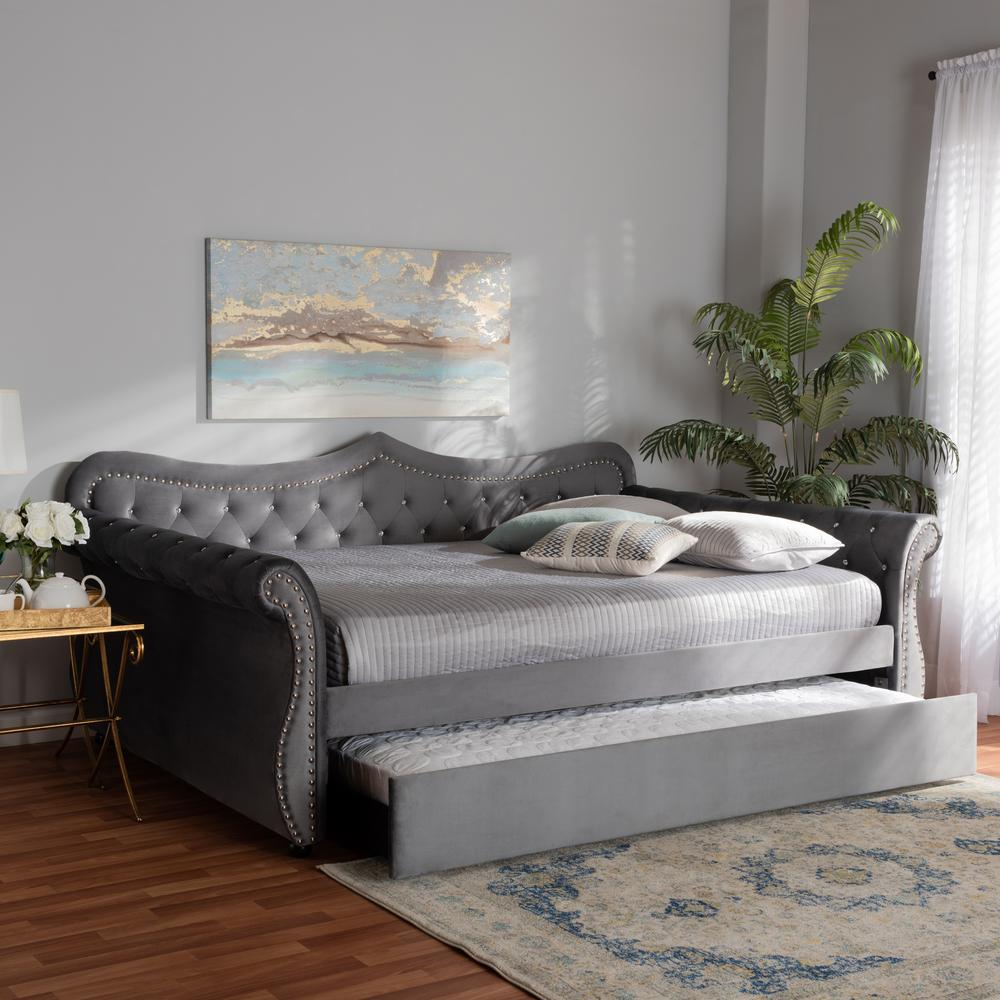 - Baxton Studio Abbie Grey Queen Daybed With Trundle 164-10421-HD