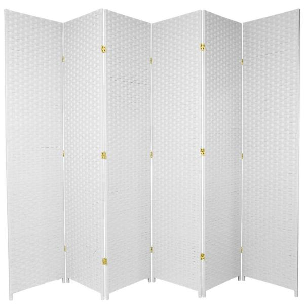 Oriental Furniture 7 ft. White 6-Panel Room Divider SS7FIBER-WHT-6P