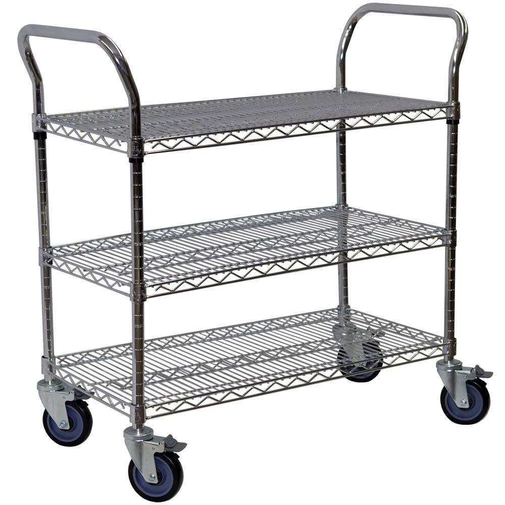 Storage Concepts 3-Shelf Steel Wire Service Cart in Chrome - 39 in H x 72 in W x 24 in D