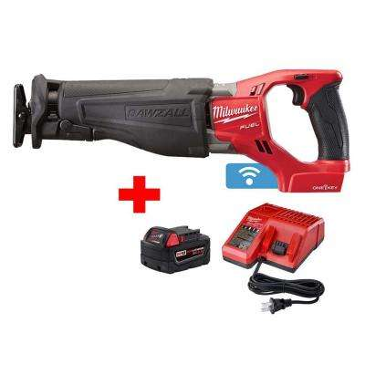M18 FUEL ONE-KEY 18-Volt Lithium-Ion Brushless Cordless SAWZALL Reciprocating Saw with Free 5.0Ah Battery and Charger