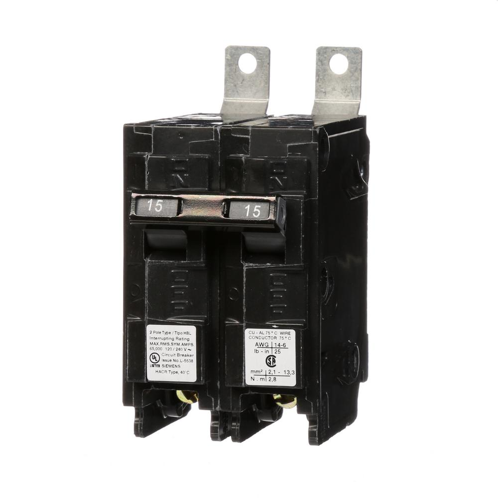 siemens 15 amp 2 pole type hbl 65 ka circuit breaker b215hh the home depot. Black Bedroom Furniture Sets. Home Design Ideas