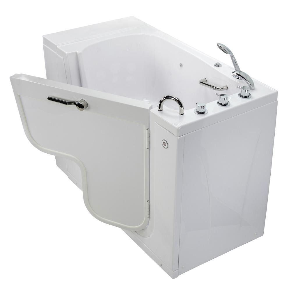 Wheelchair Transfer 52 in. Acrylic Walk-In MicroBubble Air Bath Bathtub in White with Faucet Set, RHS 2 in. Dual Drain