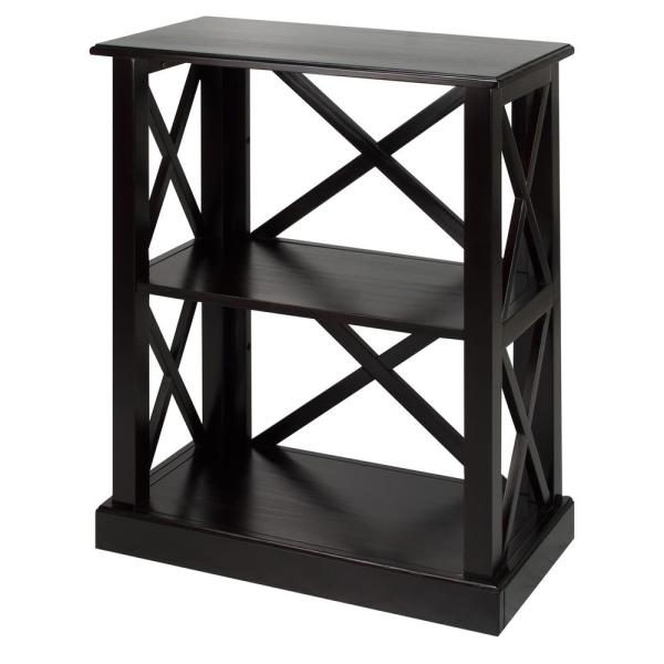 Casual Home Bay View Black 3-Shelf Bookcase 363-32