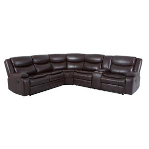Burgundy Faux Leather Manual Reclining Sectional 5 Seats Sofa Set with Cupholders and Storage for Living Room