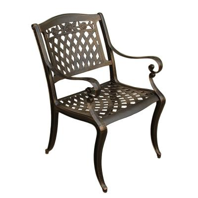 Rose Ornate Traditional Bronze Aluminum Outdoor Dining Chair