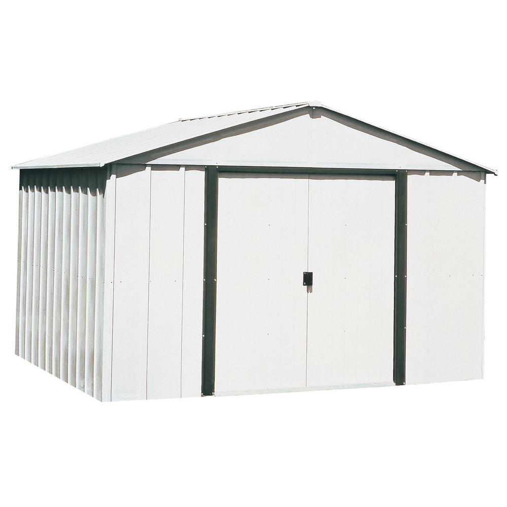 Arrow Arlington 10 Ft W X 12 Ft D Galvanized Metal White Storage Building Ar1012 The Home Depot