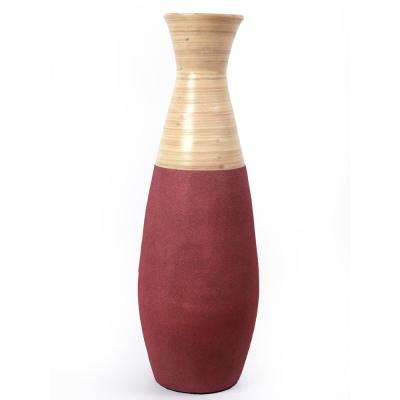31.5 in. Burgundy and Natural Tall Handcrafted Bamboo Floor Vase
