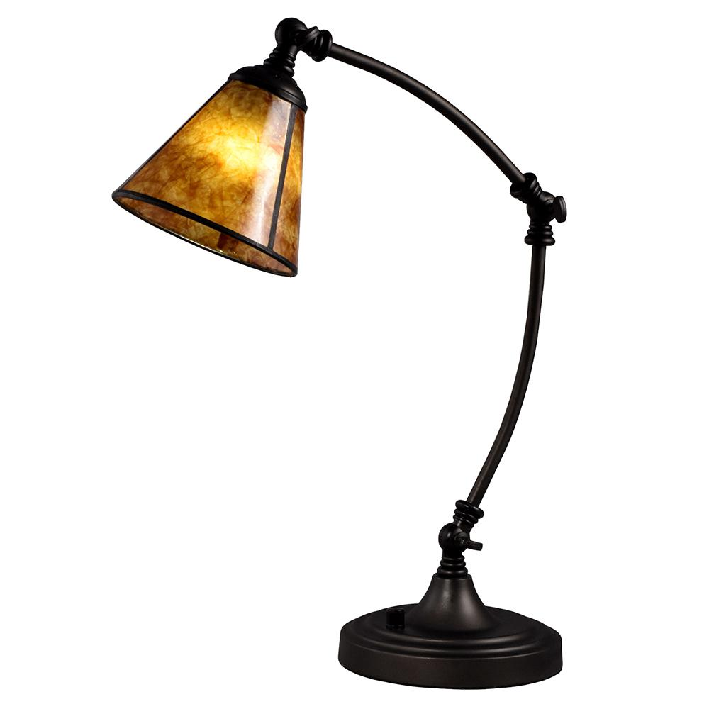 springdale lighting banhill 19 5 in tiffany bronze desk lamp rh homedepot com bronze bankers desk lamp bronze desk lamp with leather shade