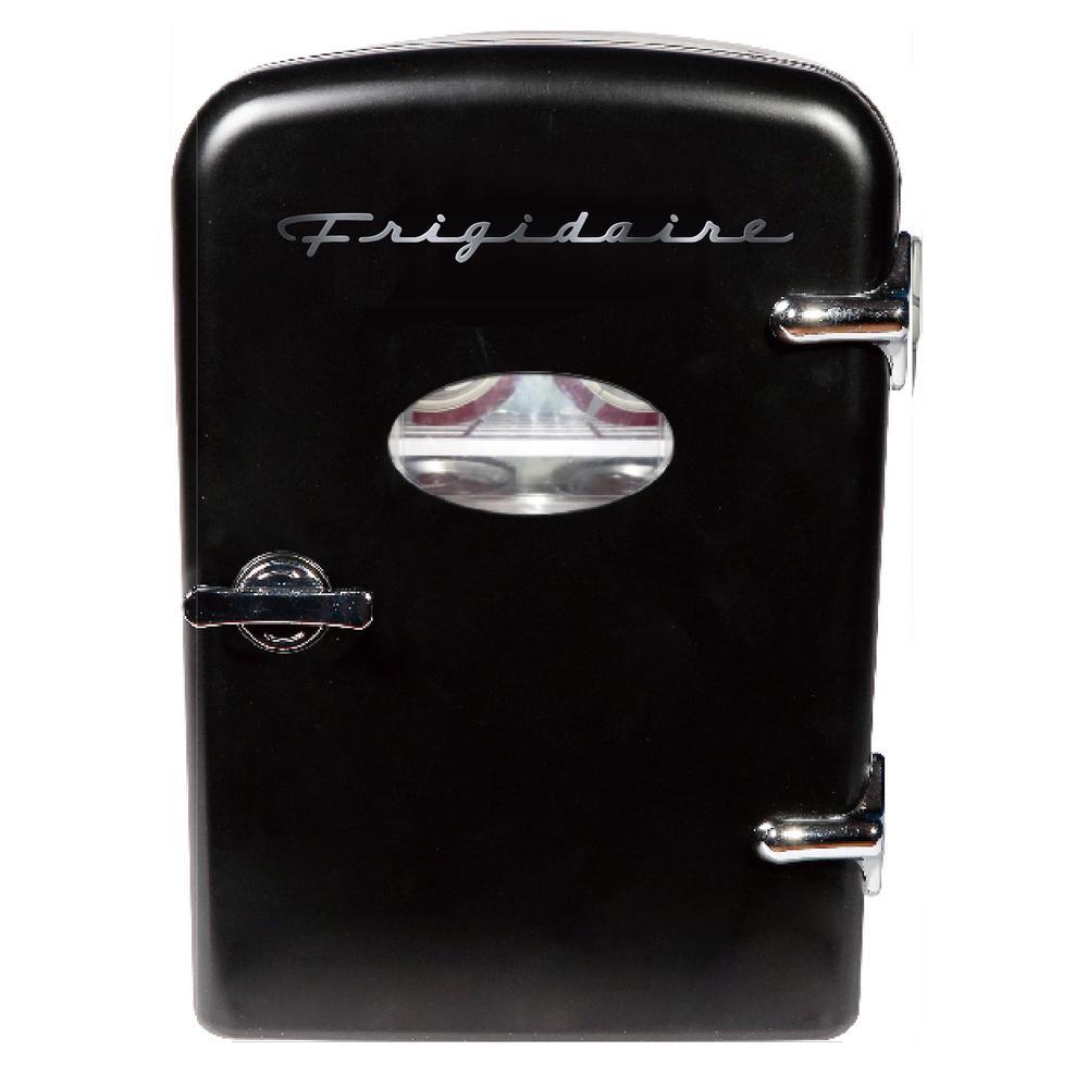 6 Can Mini Retro Refrigerator in Black