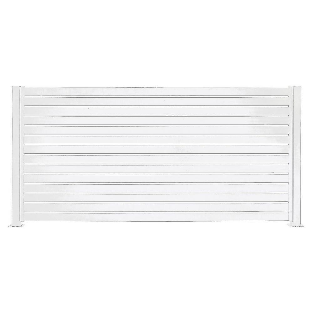 Quick Screen 7.83 ft. x 5.91 ft. x 0.20 ft. Aluminum Slat Kit in White for fence panels