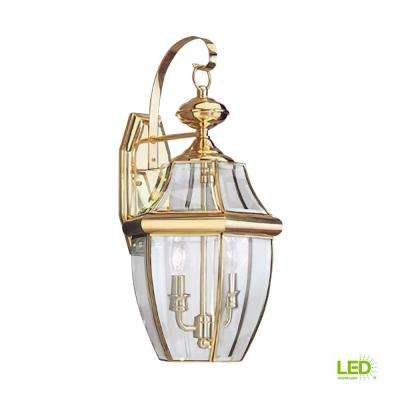 Lancaster 2-Light Polished Brass Outdoor 20.5 in. Wall Mount Lantern