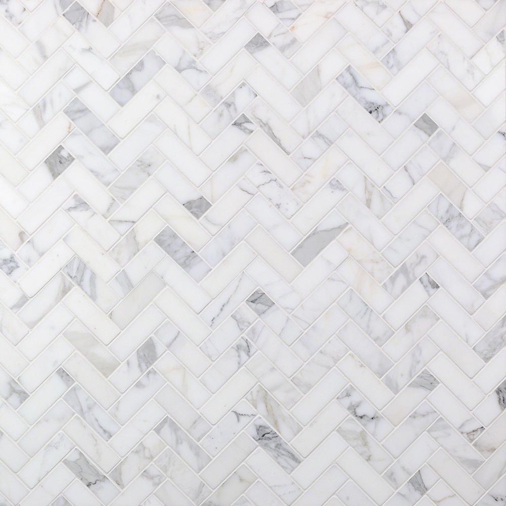 Ivy Hill Tile Calacatta Herringbone 11.87 in. x 13.44 in. x 10.5 mm Marble Mosaic
