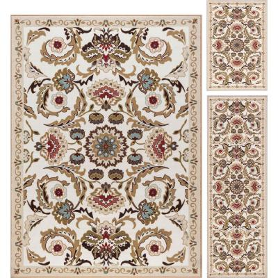 Majesty Cream 5 ft. x 7 ft. 3-Piece Rug Set