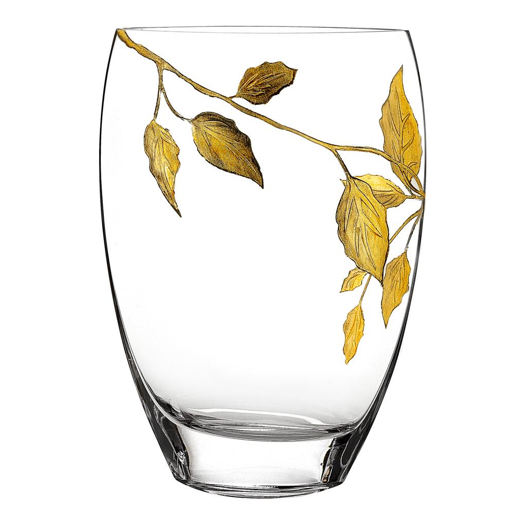 Metallic Gold Leaf Design Mouth Blown European Decorative Vase