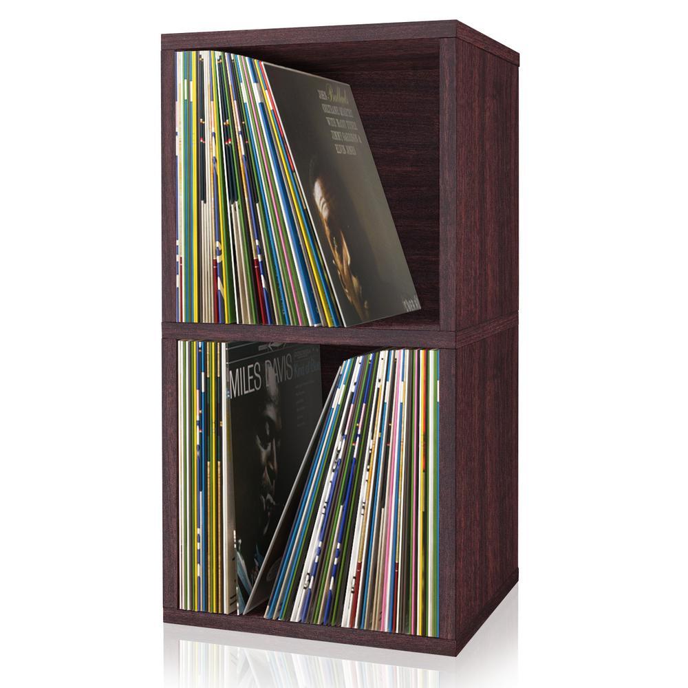 zBoard Espresso 2-Shelf Vinyl Record and LP Record Album Storage Shelf