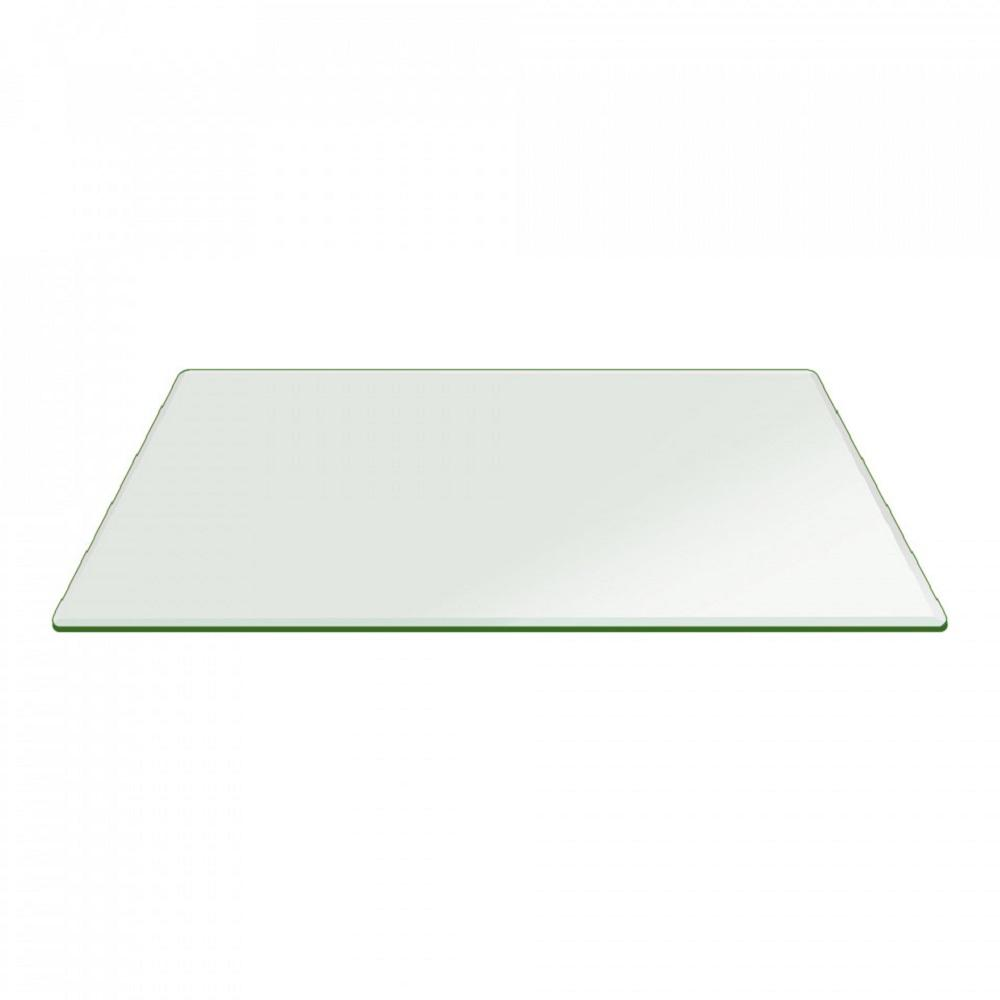 26 in. x 52 in. Clear Rectangle Glass Table Top 1/2 in. T...