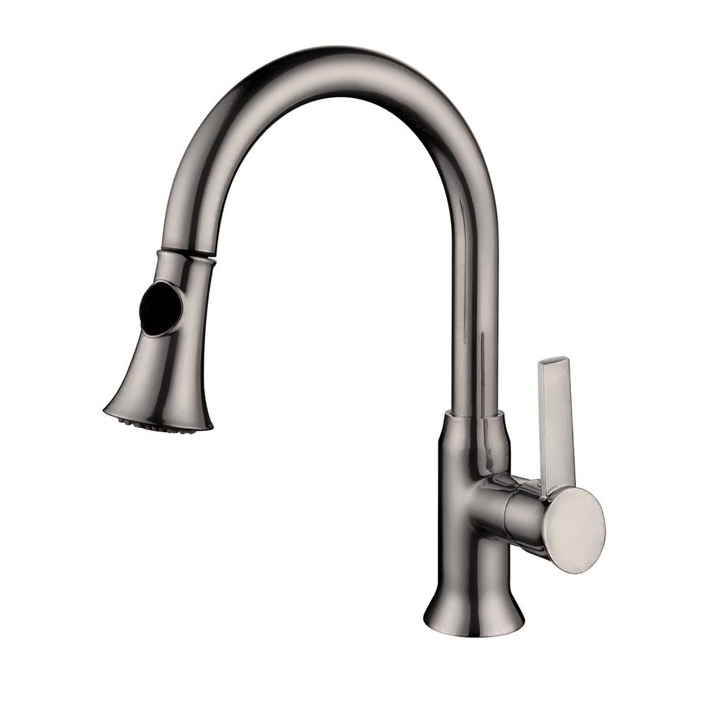Y Decor Lazaro Single Handle Pull Down Sprayer Kitchen Faucet In Brushed Nickel
